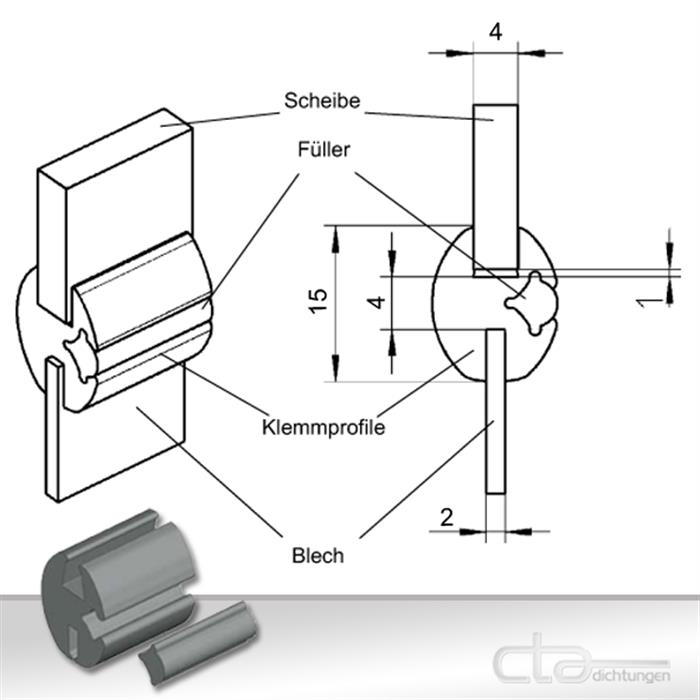 klemmprofil f r blech und scheibe mit f ller 1c30 01 cta dichtungen velbert. Black Bedroom Furniture Sets. Home Design Ideas