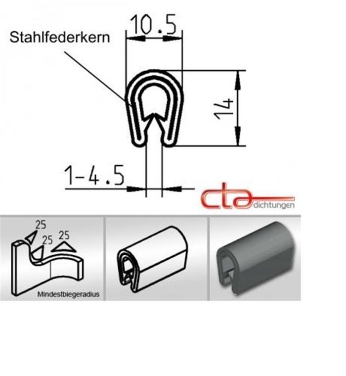 10 M Dichtungsprofil Dichtprofil Kantenschutz Dichtung PVC Schwarz KB 1-2 Mm