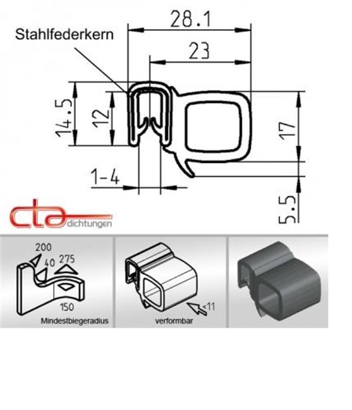 5 m Dichtungsprofil Dichtprofil Kantenschutz EPDM PVC schwarz KB 1-4mm 1C11-21